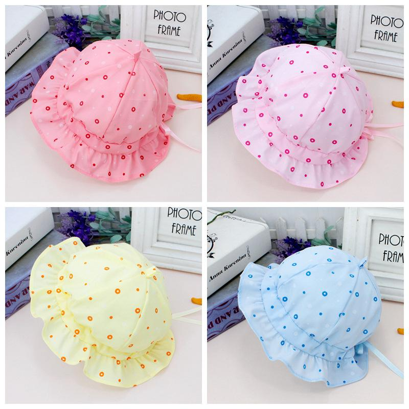 9f2b1972654 2019 Baby Hats Newborn Infant Round Dot Printed Princess Bucket Hat ...