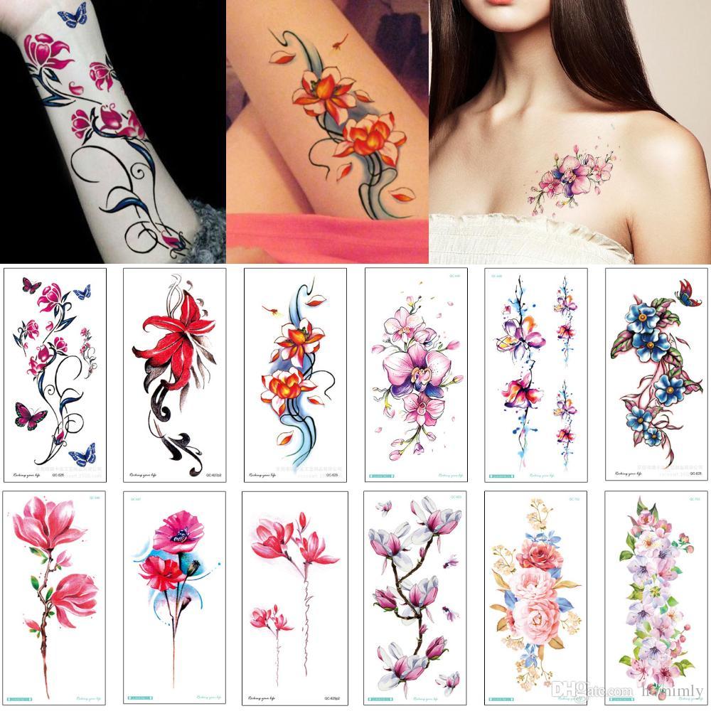 Acquista Moda Peonia Fiore Di Loto Disegni Di Tatuaggi Donna Uomo