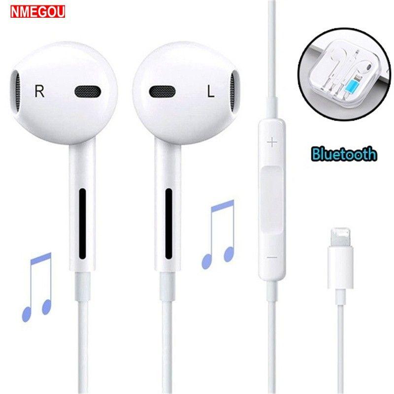 35a80c06a58 Compre Auriculares Intrauditivos Con Cable Auricular Bluetooth Para Apple  IPhone X XR XS Max 8 7 6 6S Plus 6 5 5S Auriculares Con Micrófono Teléfono  Del ...