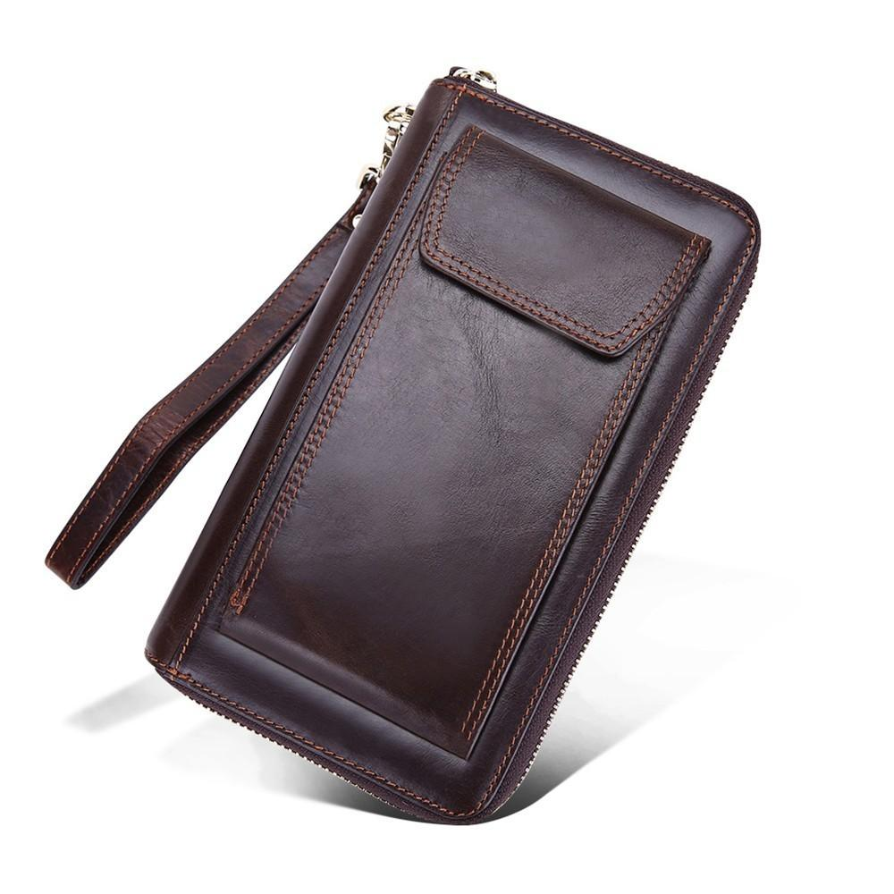 f231643982c1 2019 Genuine Leather Men Clutch Wallet Organizer Design Long Purses ...
