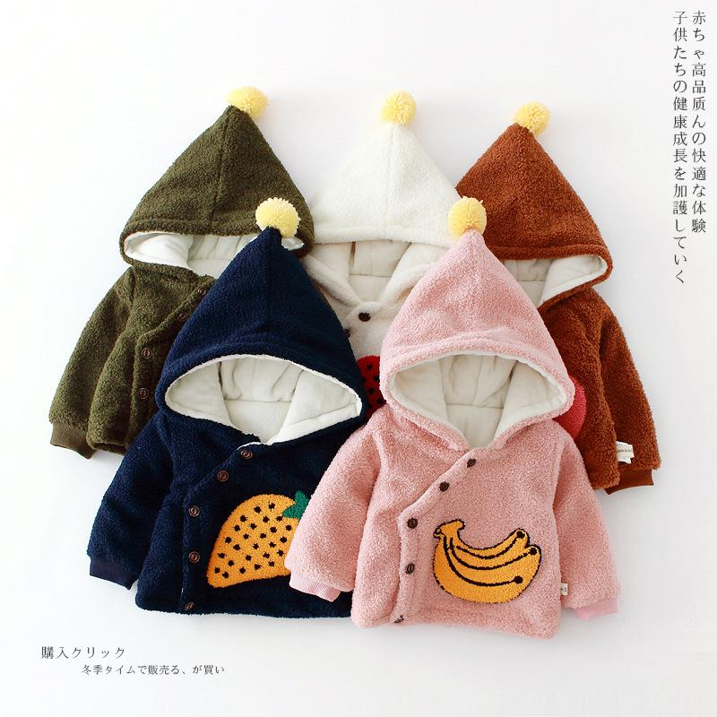 0a31d4022a48 Winter Jackets Girls Fashion Fruit Print Wool Baby Clothes Warm ...