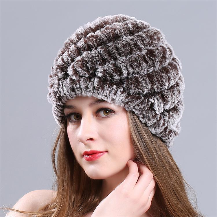 Women Genuine Knitted Rabbit Fur Hats For Women Real Fur Beanies Rex Pom  Poms Snow Cap Winter Hats Lady Women Hats Cool Beanies From Fashionkiss 5ca094daed62