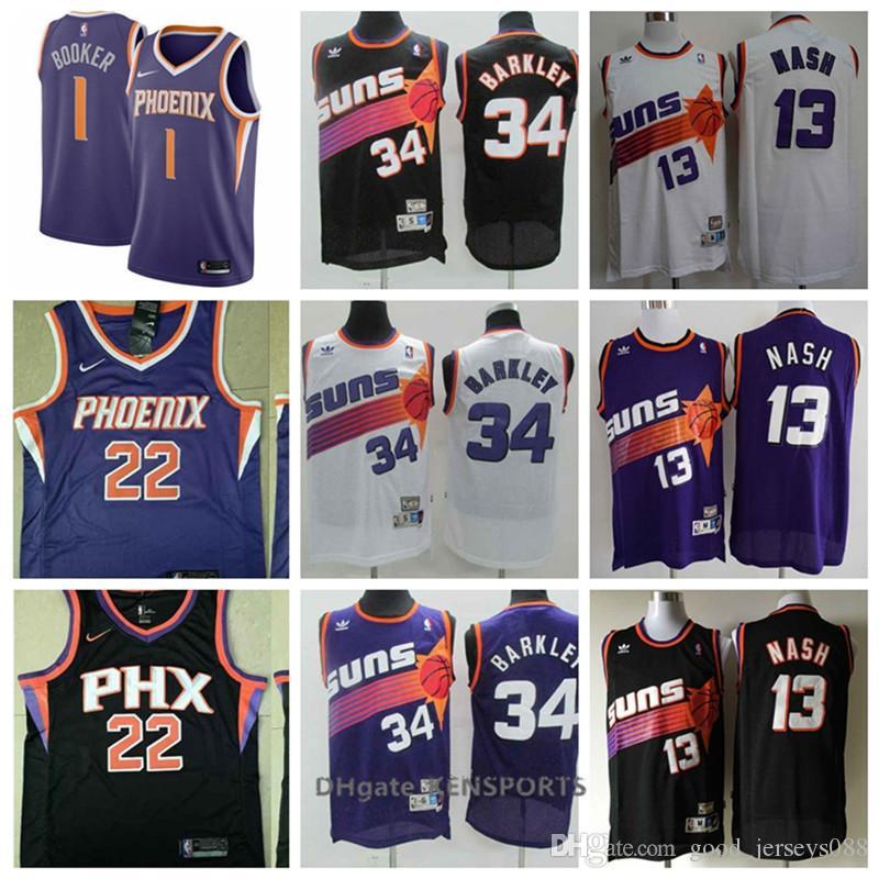 huge selection of 43034 ce166 Retro Men Phoenix Basketball Suns Champion Jersey 1 Devin Booker 13 Steve  Nash 34 Barkley 22 Deandre Ayton Stitching Jerseys
