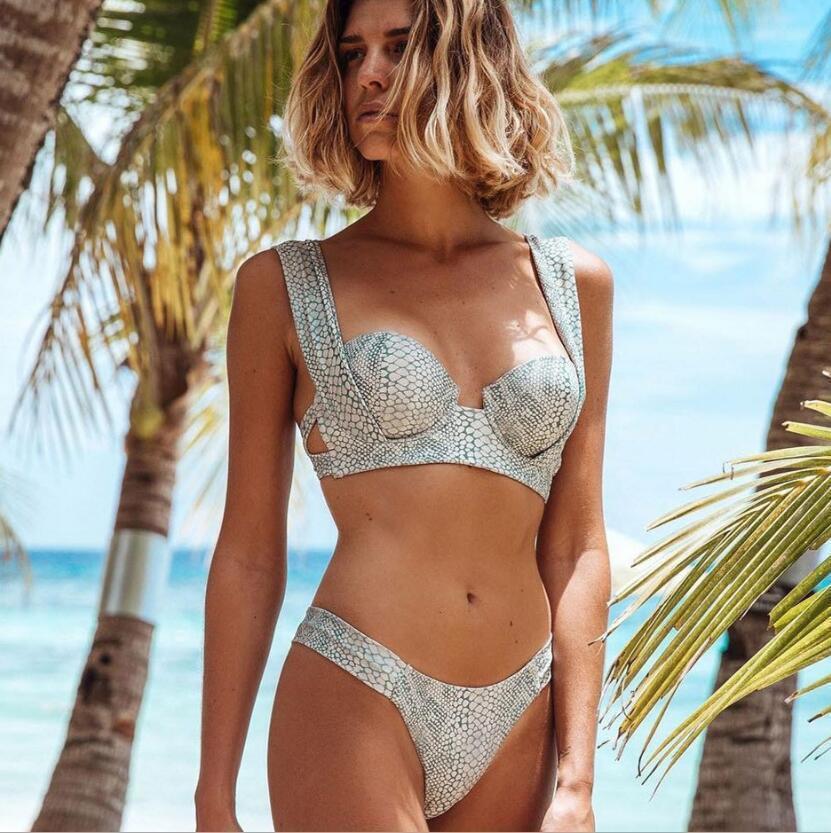 0450562939 Acquista 2019 Europa E Stati Uniti New Seaside Holiday Sexy Stampa Serpente  A Vita Bassa Con Fascia In Acciaio Placcato Petto Petto Bikini A $13.3 Dal  ...
