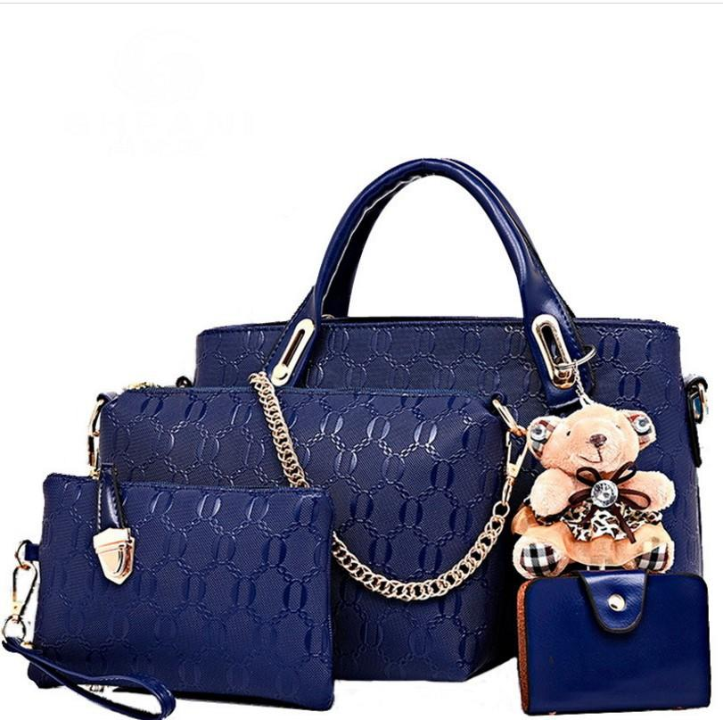 fe44d9e1b413 Women Fashion Handbags Tote Bag Shoulder Bag Top Handle Satchel Purse Set  With Bear Toy Ladies Handbags Leather Bags From Huangrongguojing
