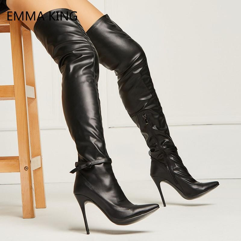 851b98a44b3 Sexy Black Leather Thigh High Boots Ladies Pointed Toe Over the Knee  Stiletto Heels Ankle Strap Bow Zip Stretch Long Boots Women