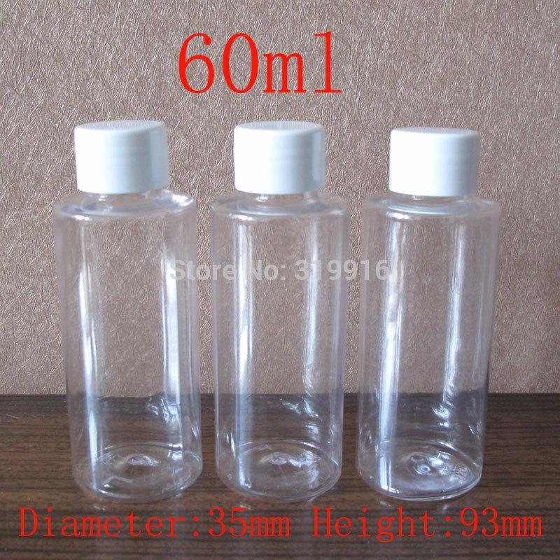 60ml X 50 empty transparent round cosmetic plastic bottles ,travel kits bottles ,shower gel containers , 60 cc clear PET bottle