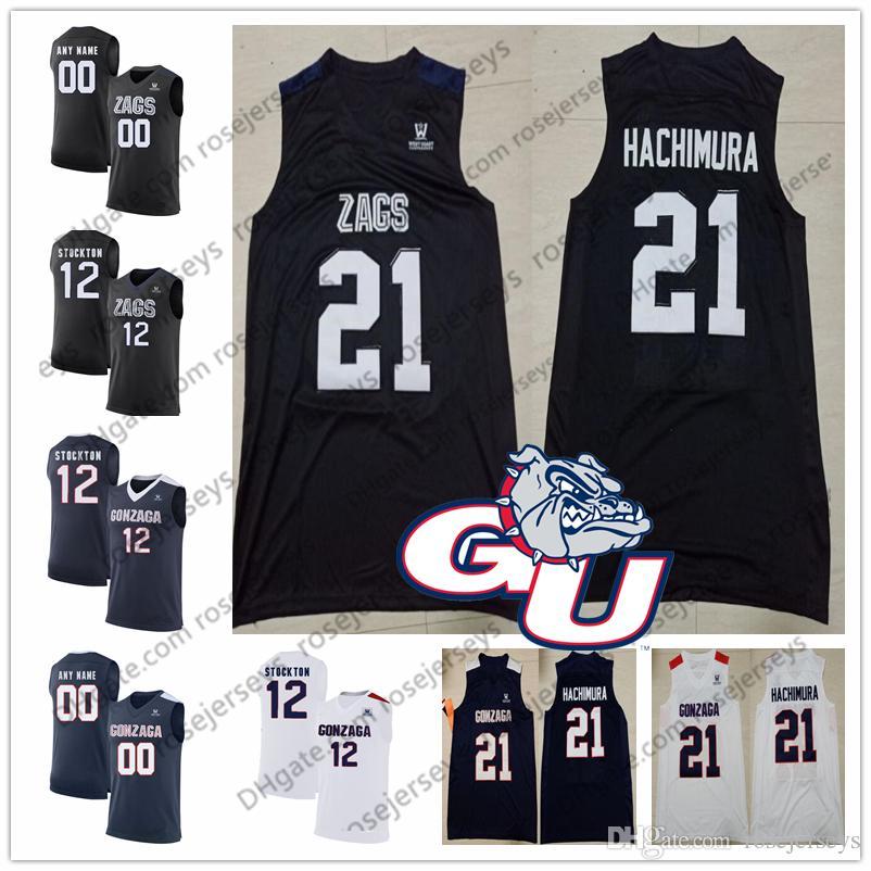 62b05a2b59b0 2019 Custom Gonzaga Bulldogs Basketball 21 Rui Hachimura 15 Brandon Clarke  13 Josh Perkins ZAGS NCAA Any Number Name Navy Blue Black White Jersey From  ...