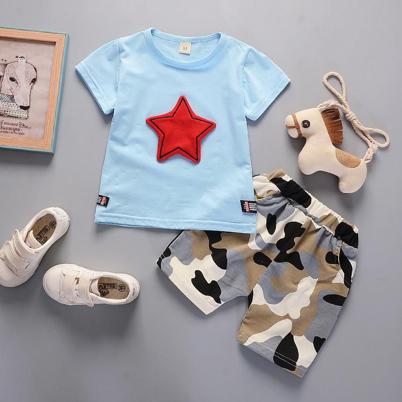 fbbeb271d98a7 good quality kids clothes set summer baby boy clothing suit 2019 new  fashion camo pant+T shirt 2 pcs children boys cotton tracksuit