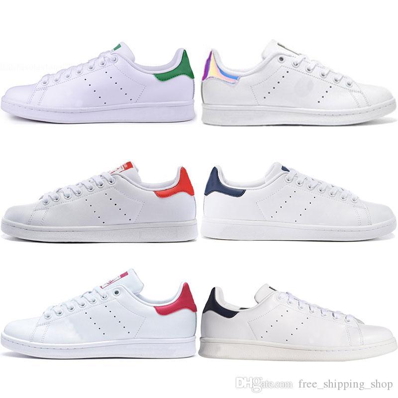a385e00a86d95 Acheter 2019 Designer Stan Luxe Chaussures Mode Smith Mens Fille Femmes  Vert Noir Bule Casual Cuir Sport Baskets Chaussures Taille 36 45 De  56.86  Du ...