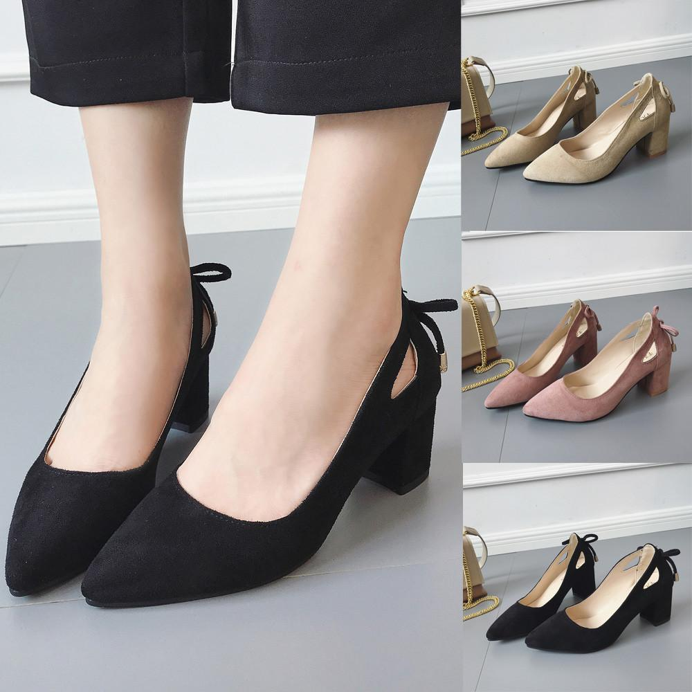 22bef275c64de Dress Shoes 2019 Women's Pumps New Fashion Spring Summer Pointed Toe Ankle  High Heels Party Jobs Flock Pump Waterproof Hot Sale Loafer