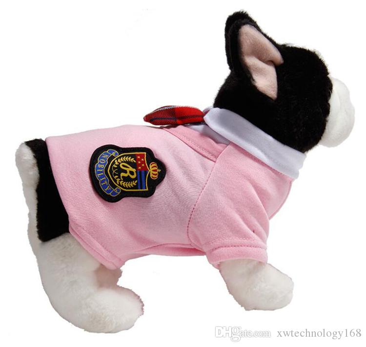 10PCS/LOT Fashion Campus Style Female and Male Pet Clothes Dog Clothing Cotton Vest Couples Jacket Dress For Small Dogs For Spring Autumn