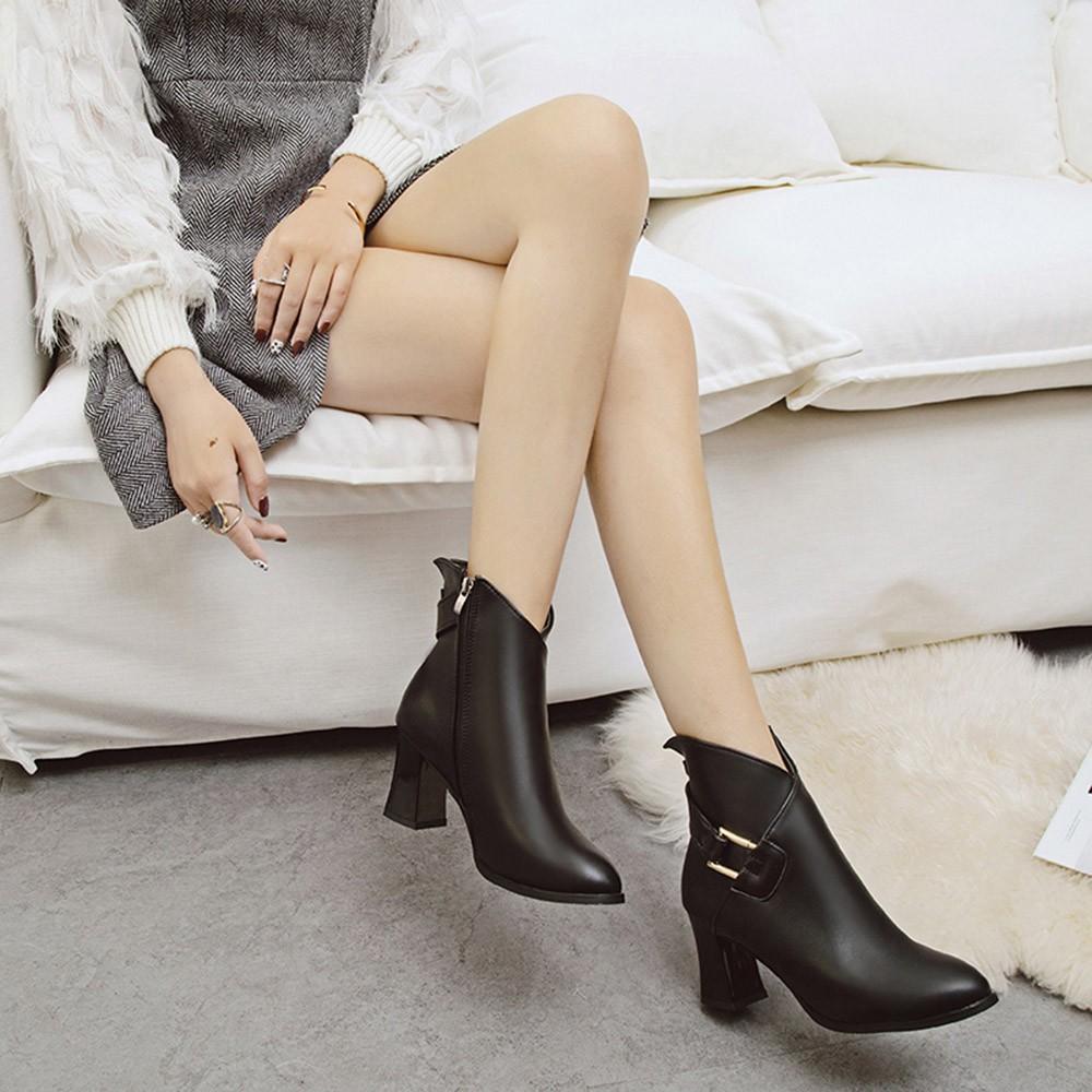 eb782ab25e94f Zapatos 2019 Neue Heiße Frauen Frauen Mode Metall High Heel Reißverschluss  Dicke Stiefeletten Martin Runde Kappe Schuhe zwei farben 35-40 MUQGEW