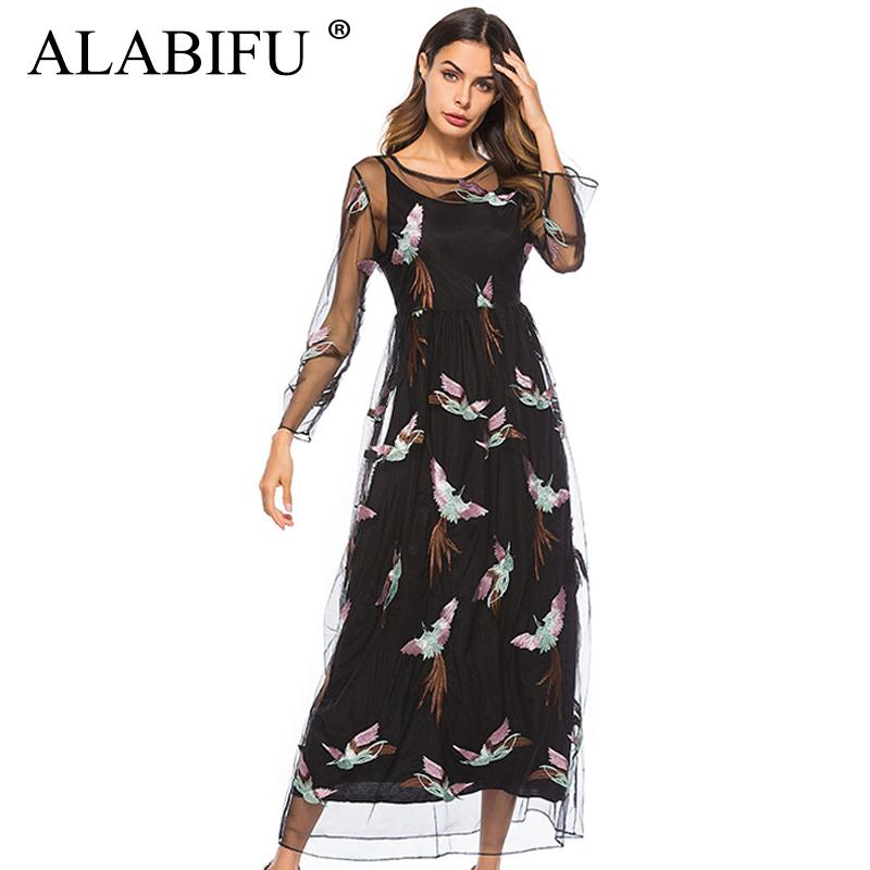 a7d9d8954b4a8 ALABIFU Summer Dress Women 2019 Sexy Hollow Out Lace Dress Plus Size Casual  Elegant Embroidery Long Party Black vestidos