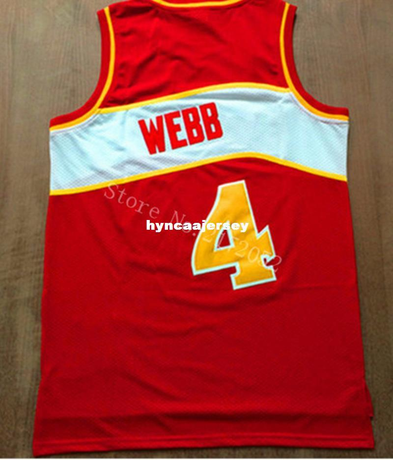 Red and White #4 Spud Webb Jersey Retro basketball jerseys Embroidery Logos,Size S M L XL XXL,Accept Mix Order Cheap Ncaa