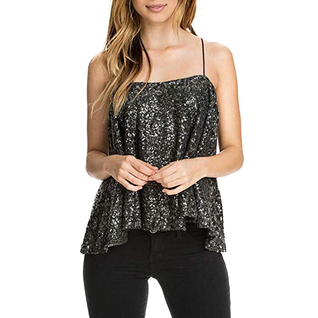 6e5f911365 2019 Gothic Sequin Tank Top Women Summer Streetwear Sexy Party Halter Top  Festival Glitter Woman Clothes Haut Femme From Lbdapparel, $32.83 |  DHgate.Com