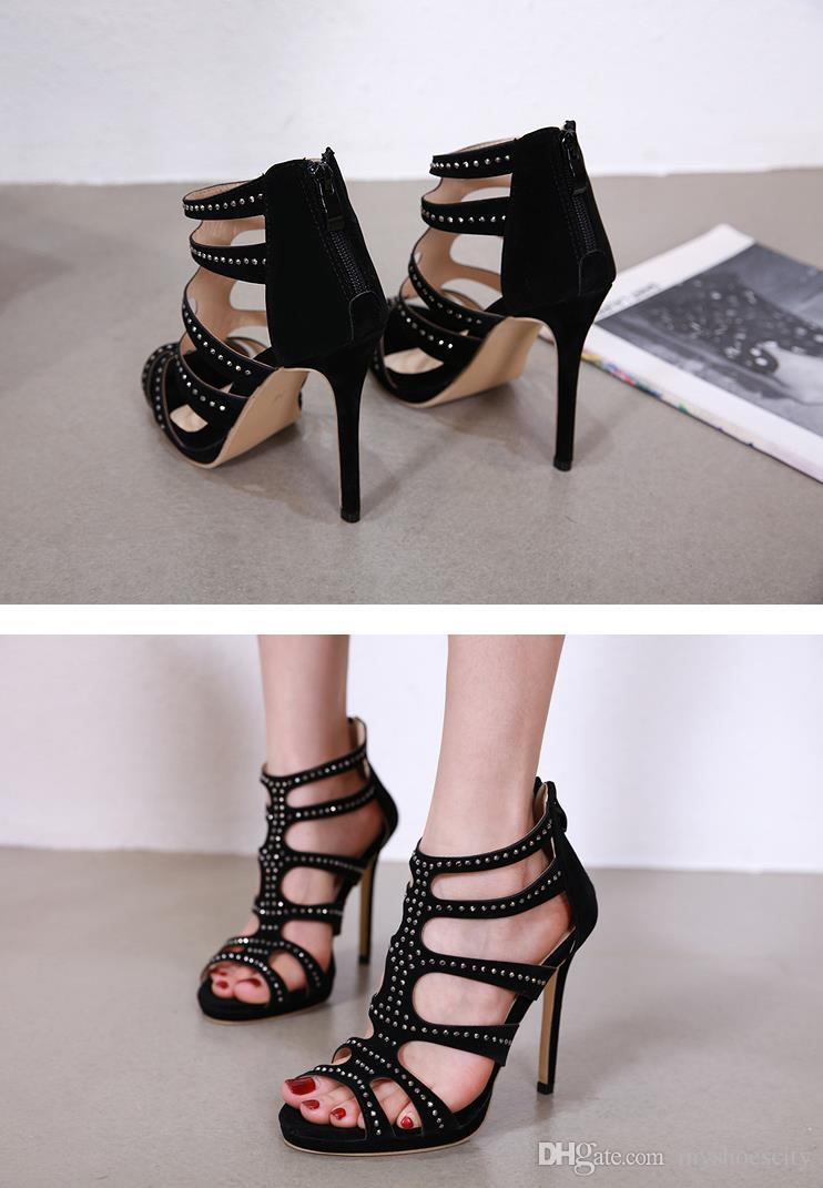 New black rivets T strap gladiator sandals shoes fashion luxury designer women shoes high heels size 35 to 40