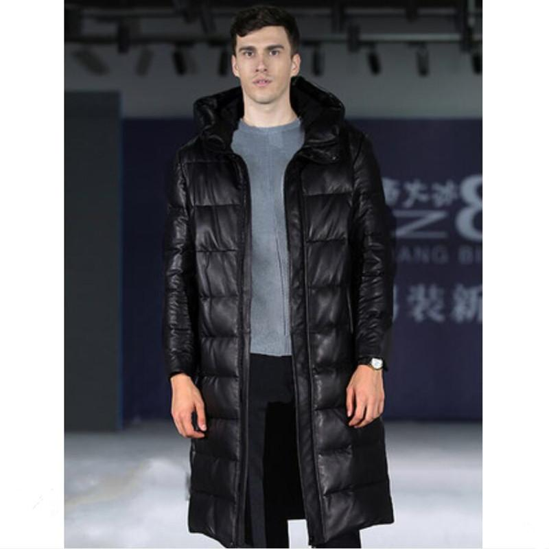 timeless design 235ec e5d08 giacca uomo pelle genuinne cappotto uomo pelle di pecora bianco piumino  lungo stile