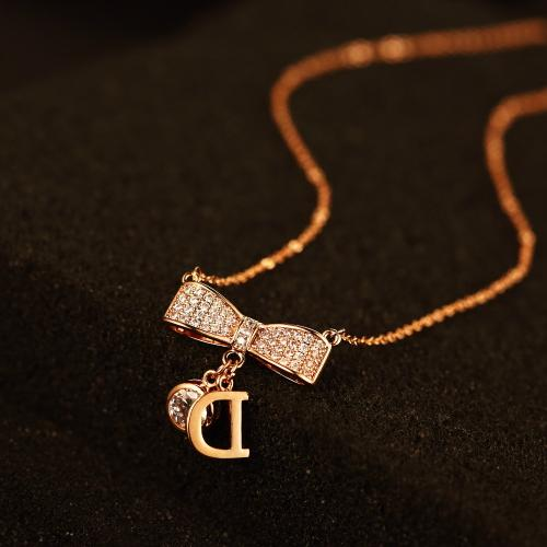 High quality rose gold plated pendants≠cklaces for women rhinestone bowknot necklace letter D N00059