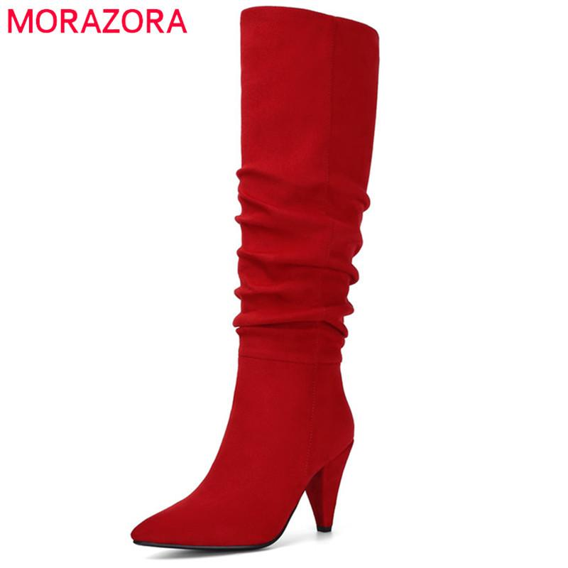 MORAZORA 2020 big size 43 women knee high boots flock pointed toe autumn winter boots slip on high heel dress party shoes woman