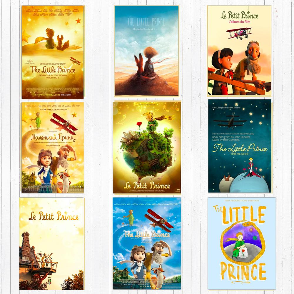 Cartoon The Little Prince Canvas Painting Vintage Wall Kraft Posters Stickers Home Decoration Wall Picture Living Room