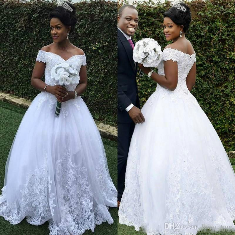 South African Wedding Dresses Aline Off The Shoulder Vintage Country Garden Floor Length Lace Bridal Gowns Modest Lace Up Beaded vestidos