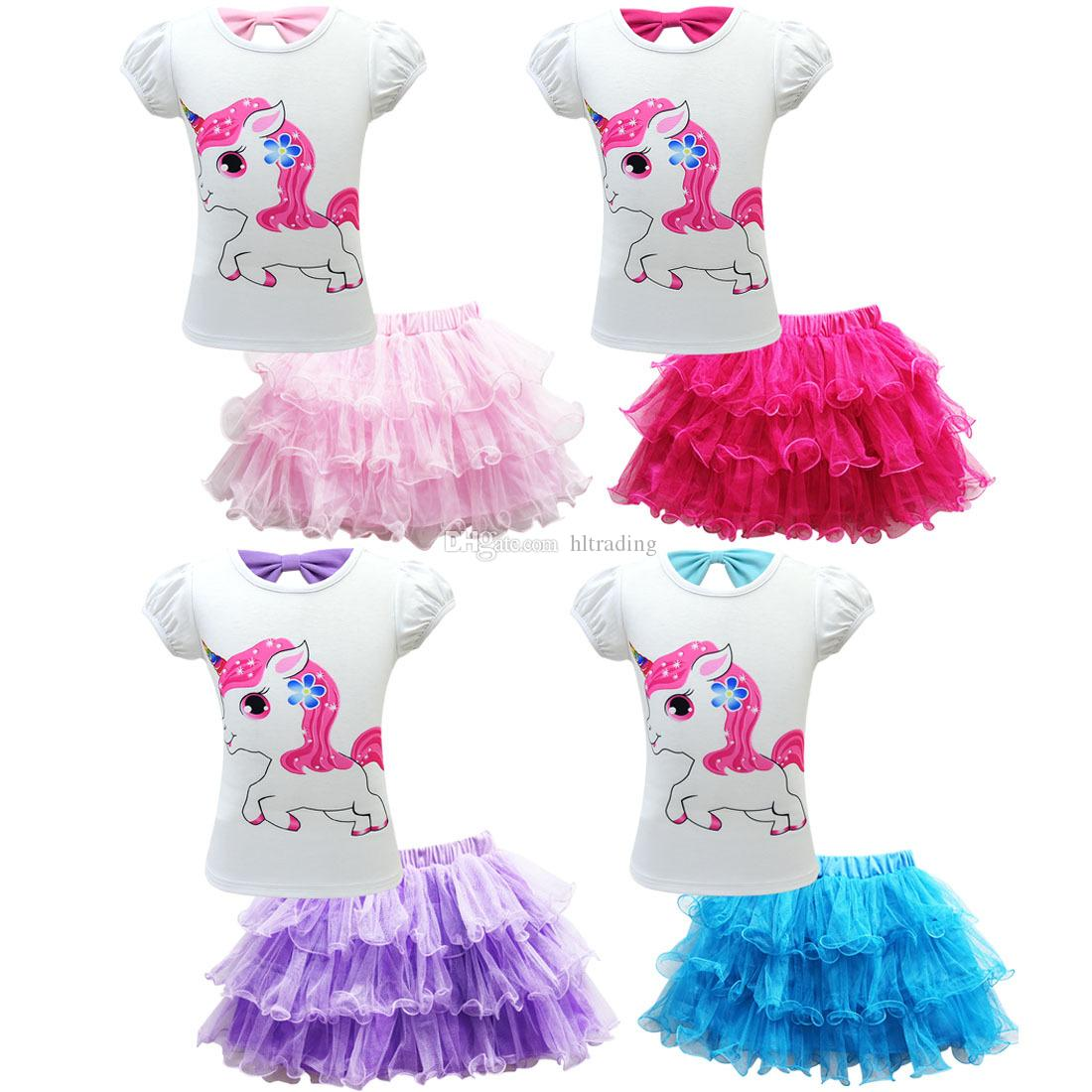 Baby girls outfits children unicorn print top+Tutu lace Mesh skirts 2pcs/set 2019 summer fashion Boutique kids Clothing Sets C6485