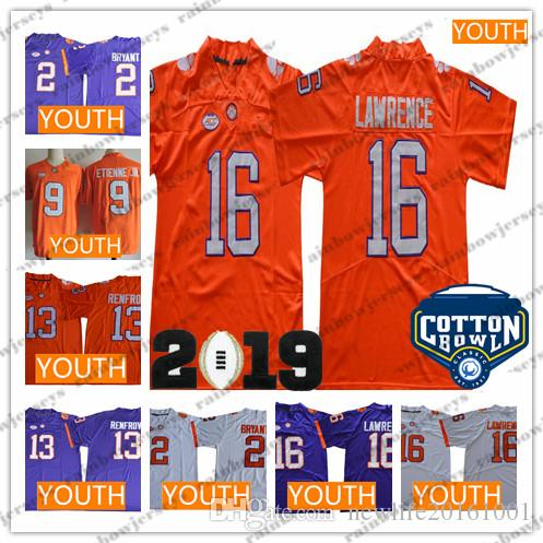 076a217e05c 2019 NCAA Youth Clemson Tigers #16 Trevor Lawrence 9 Travis Etienne Jr. 13  Hunter Renfrow 2 Kelly Bryant 2019 Champions Cotton Bowl Kids Jerseys From  ...