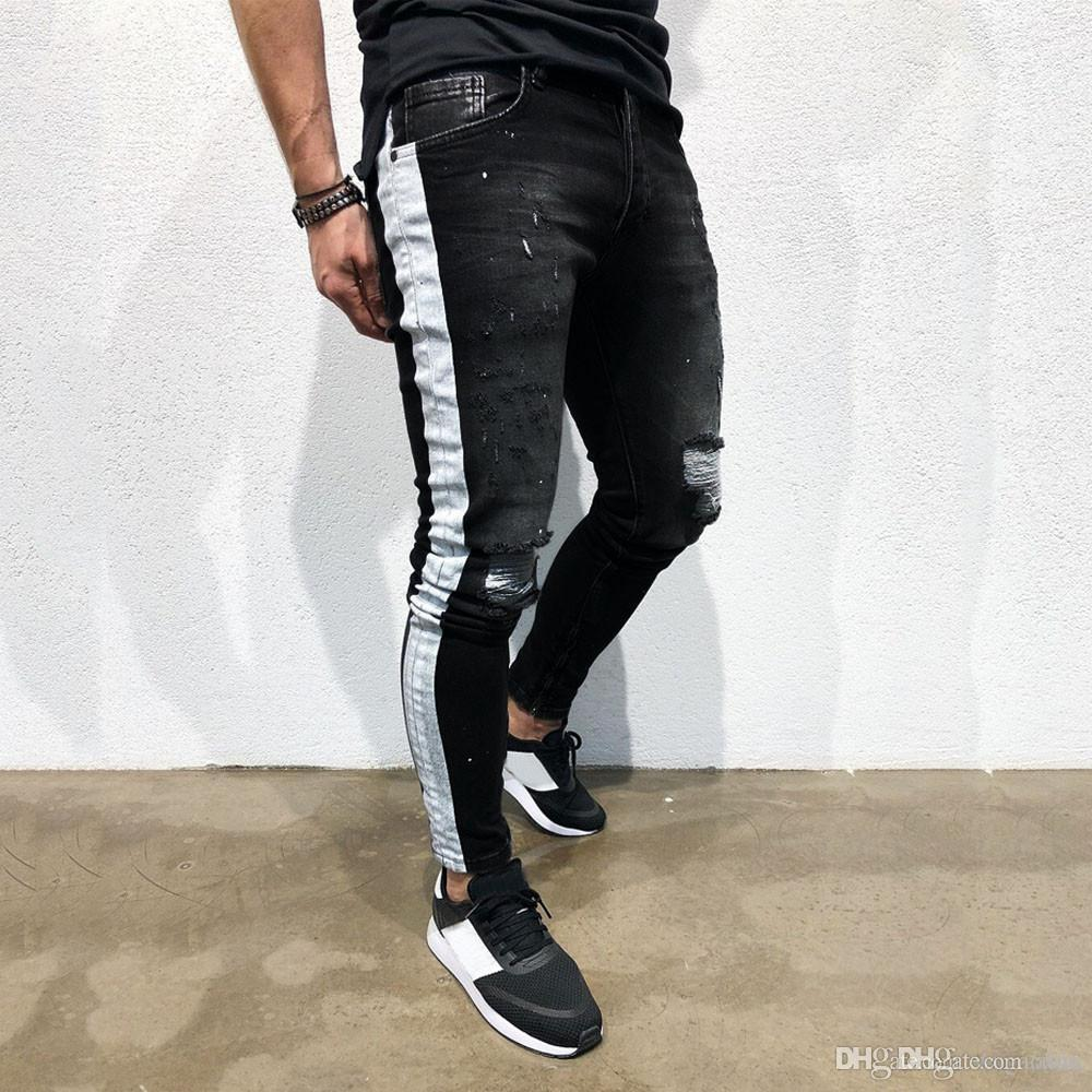 Herren Hosen Slim Fit Printed Jeans Lange Stretch Jeans Männer Hip Pop Mode Männer Jean 192 #
