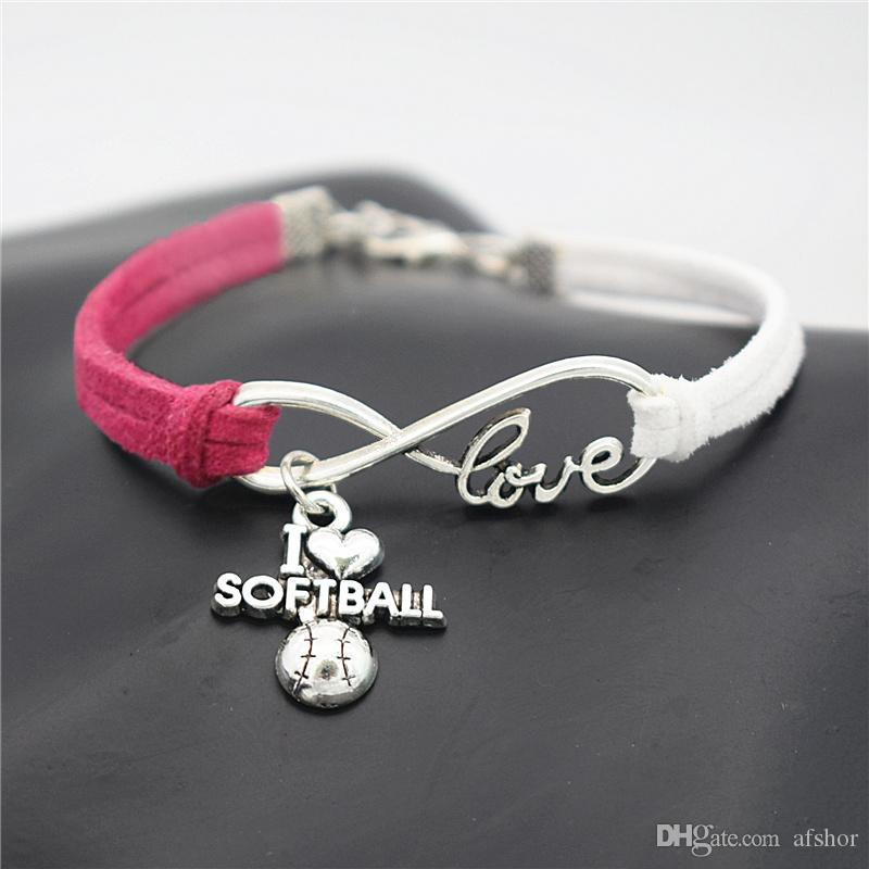 Rose Red White Leather Suede Rope Bracelets Bangles Vintage Infinity Love I Heart Softball Jewelry For Womens Mens Handmade Wrist Band Gifts