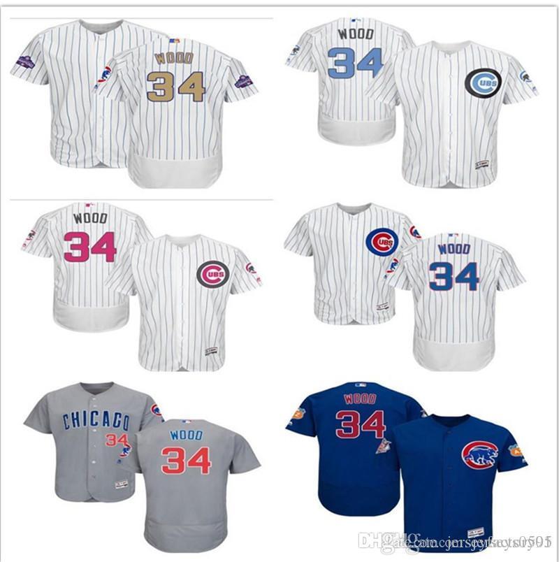 15072980a8b 2019 2019 Custom Men S Women Youth Majestic Chicago Cubs Jersey  34 WOOD  Home Blue Grey White Kids Girls Baseball Jerseys From Jerseyfactory01