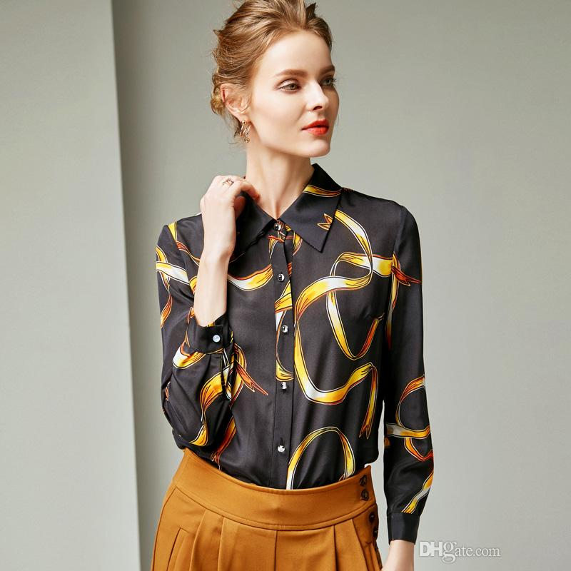 f8fcd203b33524 2019 100% Pure Silk Women s Runway Shirts Turn Down Collar Printed ...