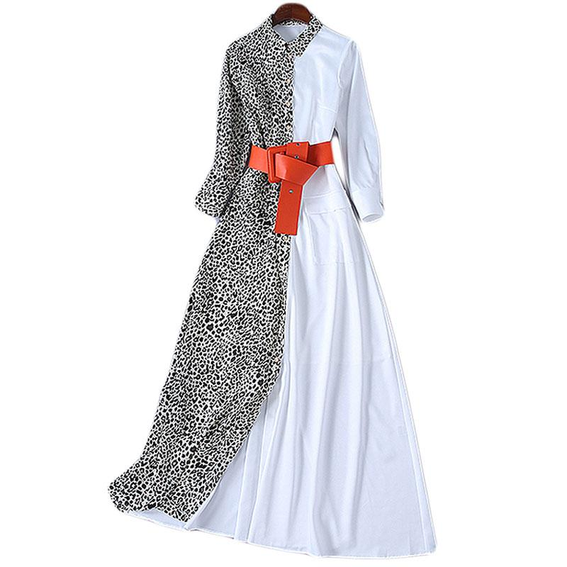 978e7531c1a4b Red RoosaRosee New Spring Summer Design Women s Fashion Wrist Sleeve  Dresses Leopard Print Sexy Placket Bohemian Long Maxi Dress