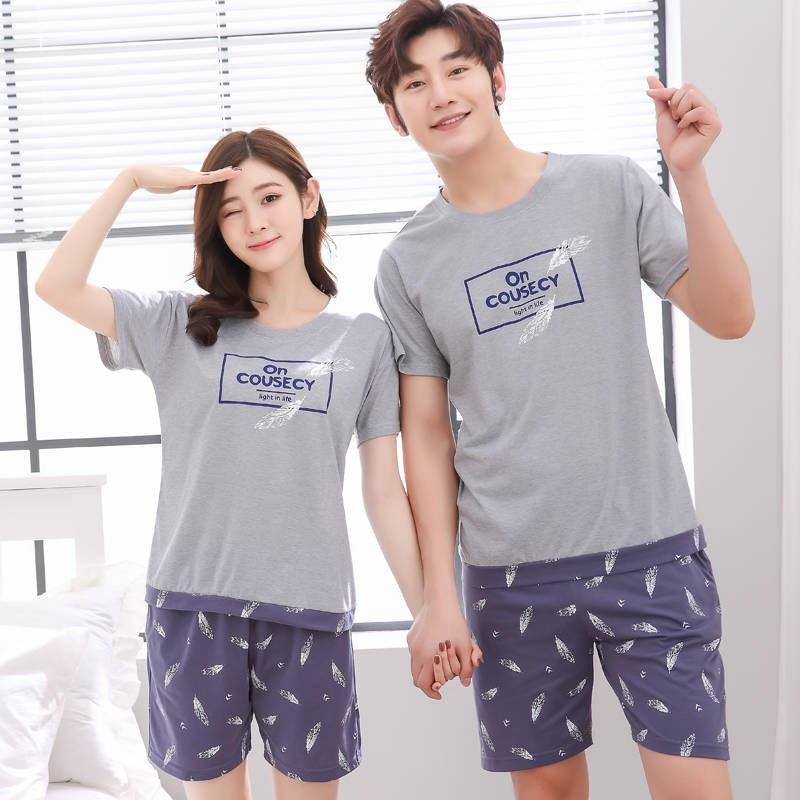 486321a3cf Compre Conjuntos De Pijama De Algodón De Punto De Verano SleepLounge Pijama  Hombre Pijamas Para Hombre Pijama Ropa De Dormir Pareja Ropa De Dormir  Homewear ...