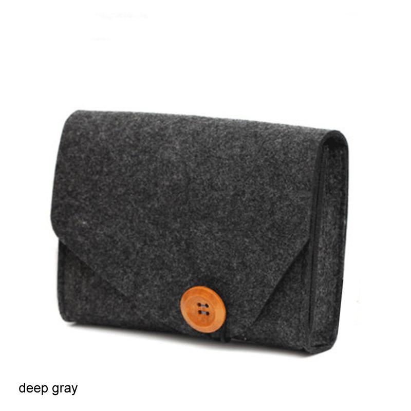 Home Storage Organization Key Coin Package Mini Felt Pouch Earphone SD Card Power Bank Data Cable Travel Organizer
