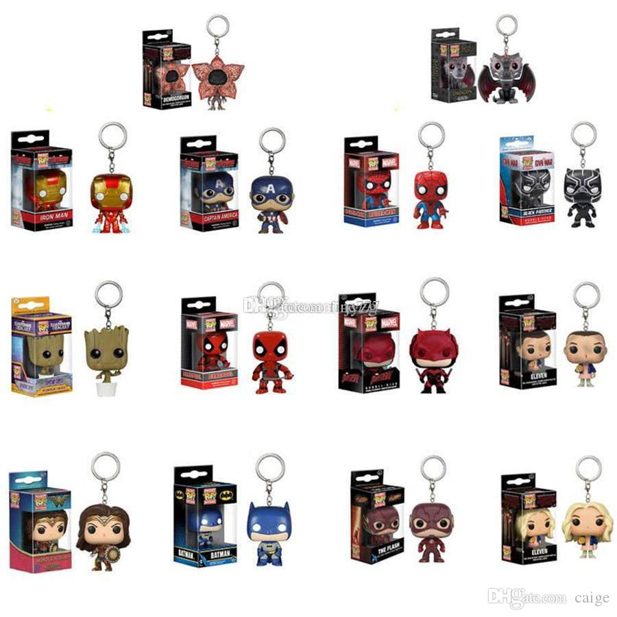 100+ design kids Toys Movie Anime Key chain Keyring Kid Toy Funko Pop Keychain The avengers Action Figures Anime Collection Doll lol