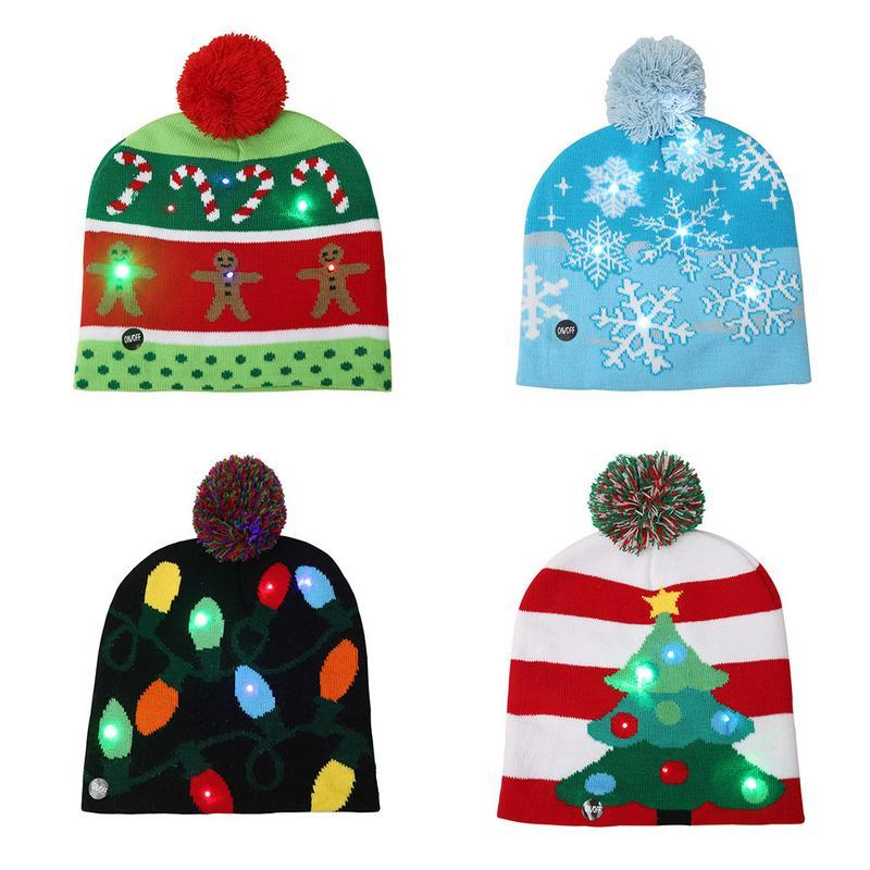 c4c18d36d71 New LED Christmas Beanies Christmas Tree Snowflake Beanie Light Up ...