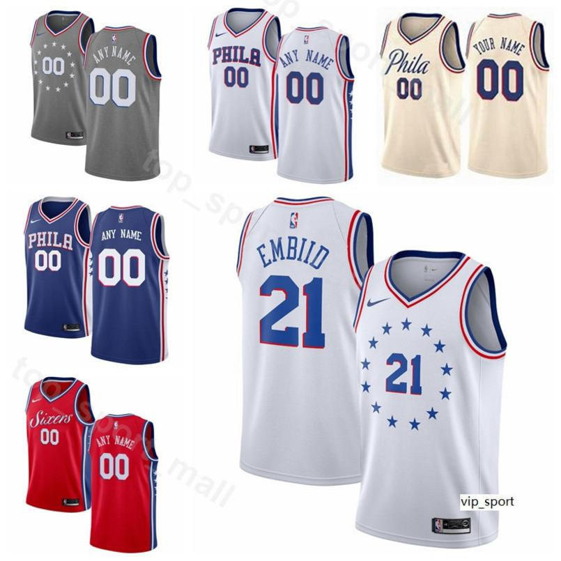 sports shoes 56327 7ed89 Print Man Kids Woman Philadelphia Basketball 76ers Jersey Jimmy Butler Joel  Embiid Ben Simmons JJ Redick Edition City Earned Shirts