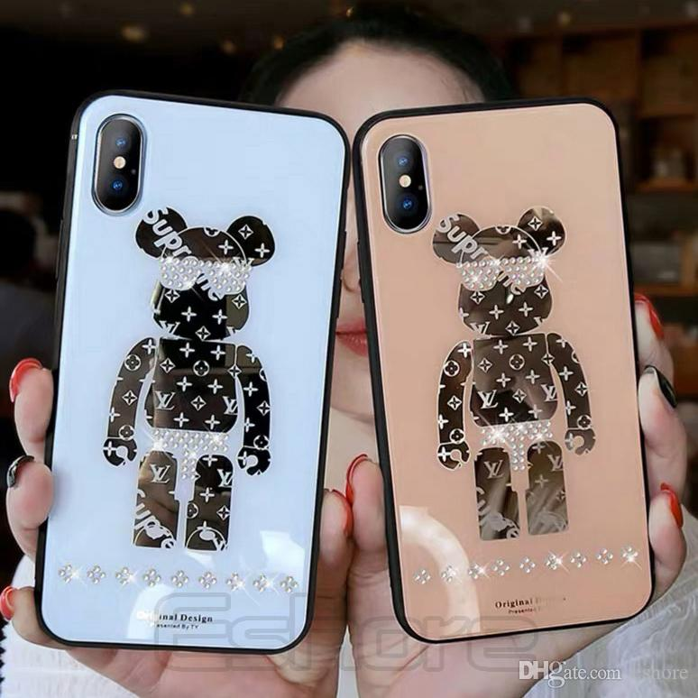 2019 Trendy Mirror Phone Case for IPhone 11 Pro X Xs Max Xr Bear Bling RhineStone Cell Phone Cases for IPhonX 8 8Plus 7 7Plus 11Pro Cover