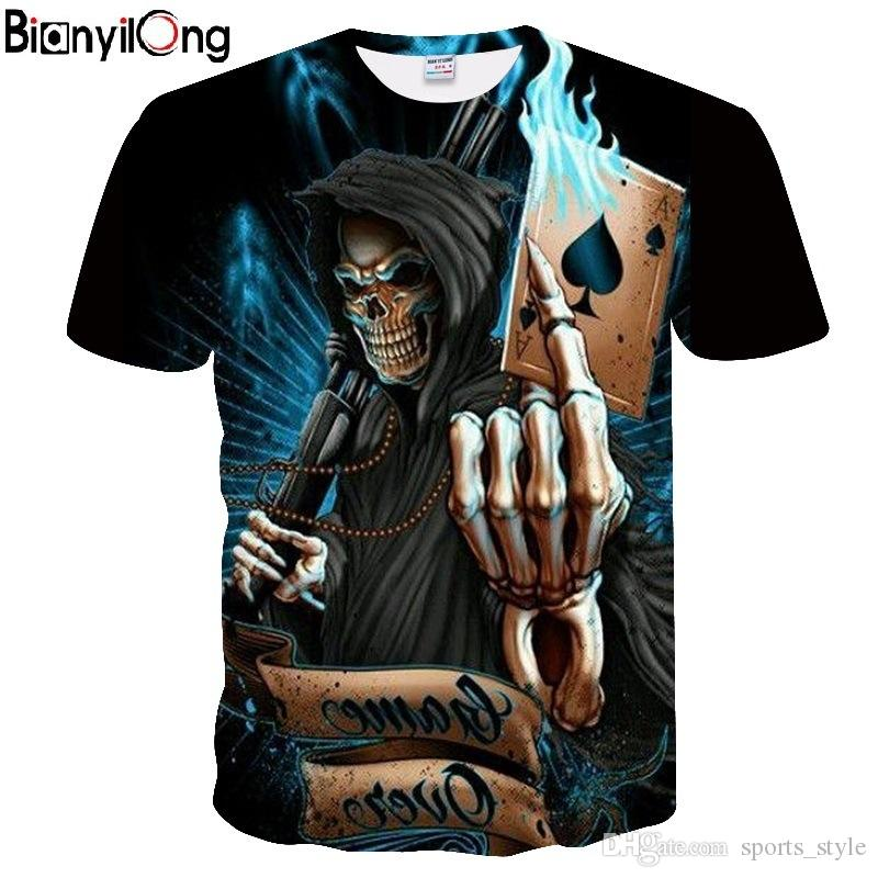 63e873229a59 2018 NEW 3d Skull Poker Funny T Shirts Men HOT Brand Mens Casual 3D Printed  T Shirt Men Clothes Tshirt Summer Top European SIZE  392370 Novelty T  Shirts Fun ...