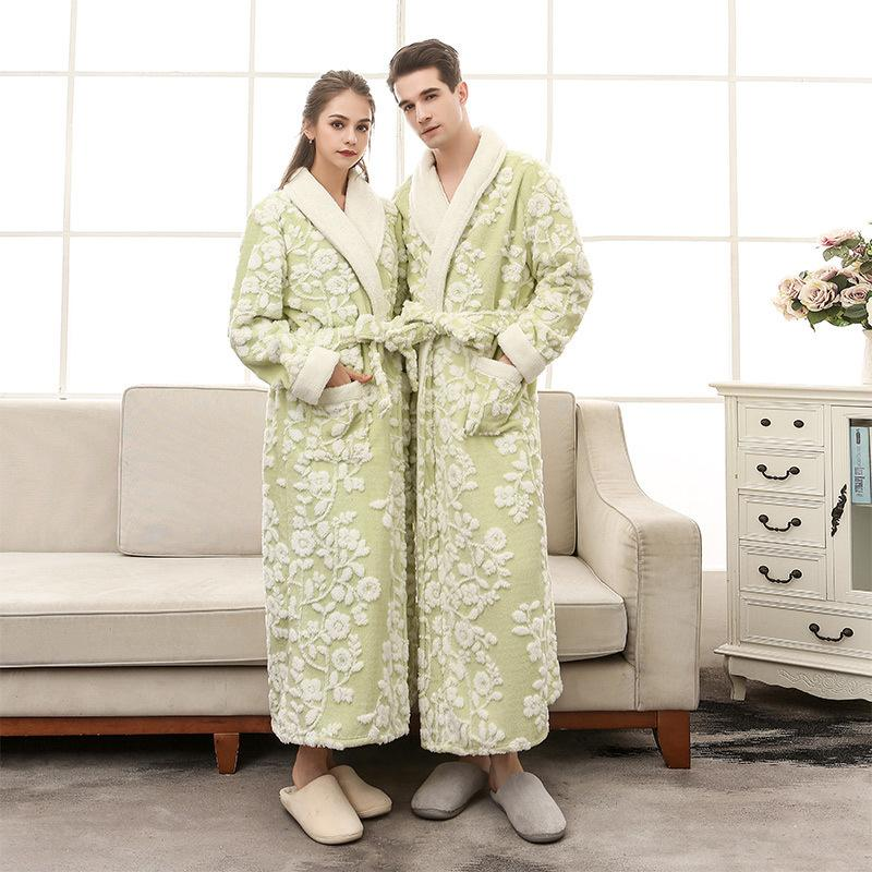 677a917f570b 2019 Lovers Coral Fleece Women Long Bathrobe 2018 Men Winter Soft Flannel  Kimono Floral Bath Robes Female Dressing Gown Men S Robes From Ycqz2