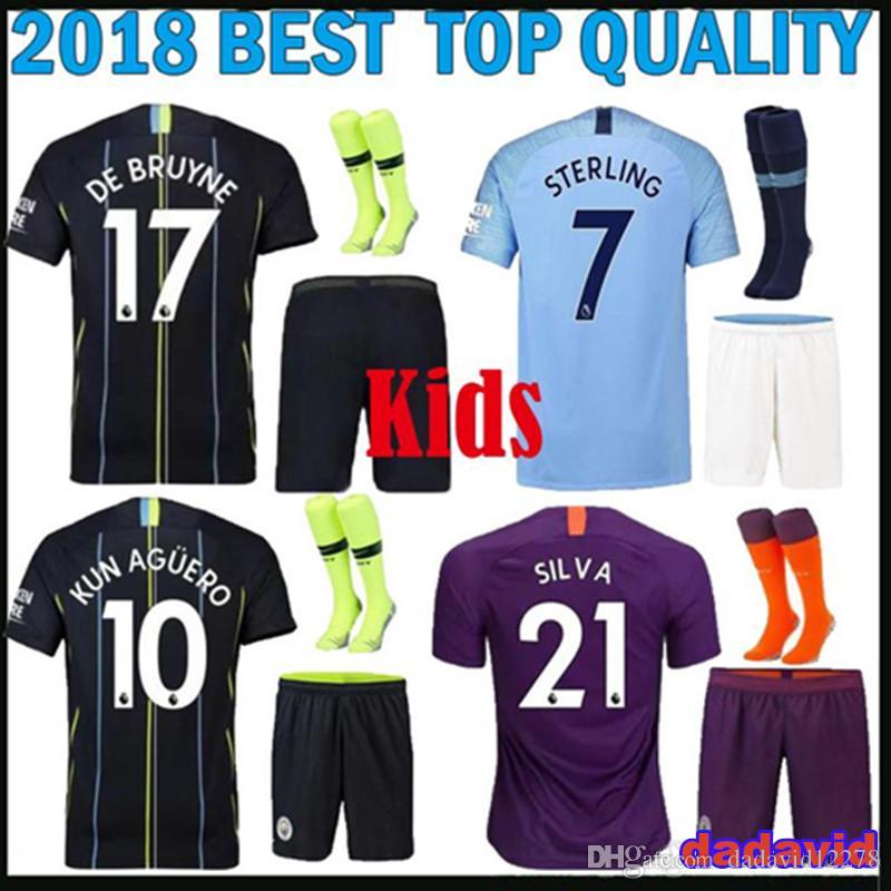 09d7dcb5c KIDS KIT 18 19 City Soccer Jersey G.JESUS KUN AGUERO SANE STERLING ...
