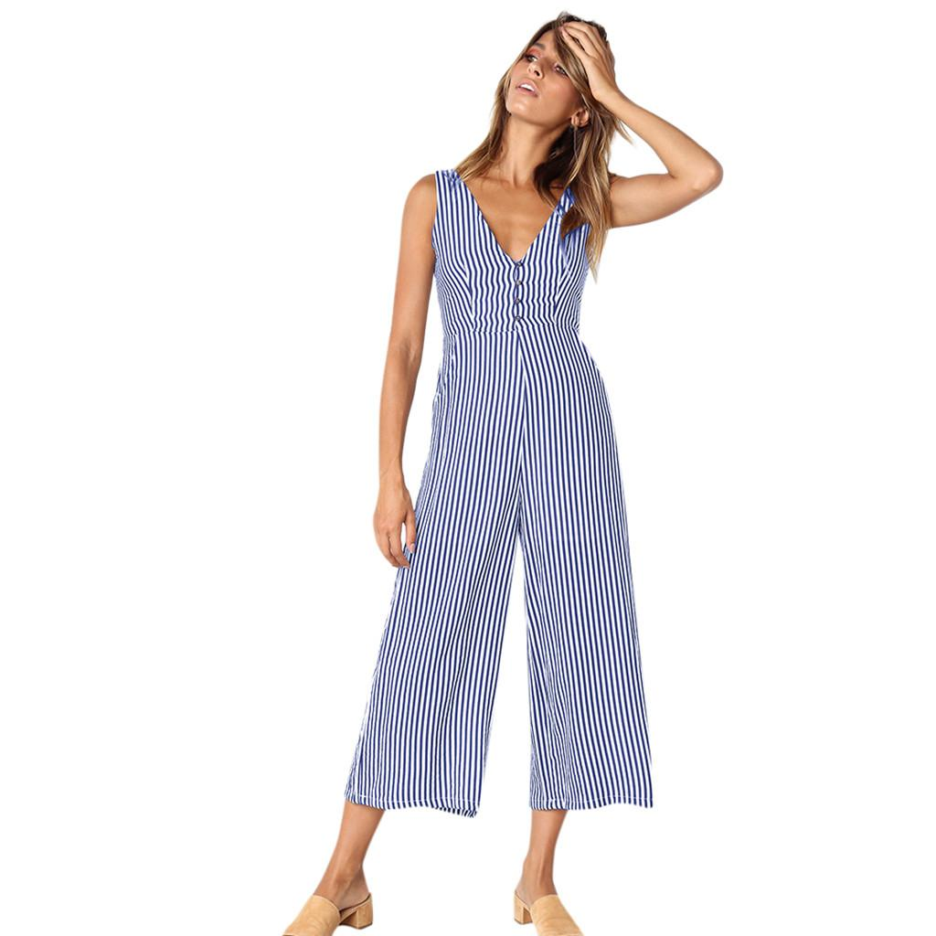 wholesale Women Striped Jumpsuit Holiday Playsuit Ladies Summer Beach Rompers Polyester bodysuit jumpsuits for women C30123