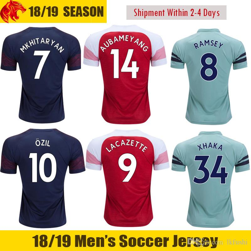 best loved 8524d 2c3f8 18 19 AUBAMEYANG Soccer Jersey OZIL 2018 2019 XHAKA WELBECK LACAZETTE  Soccer Shirt LICHTSTEINER MKHITARYAN Football Shirt