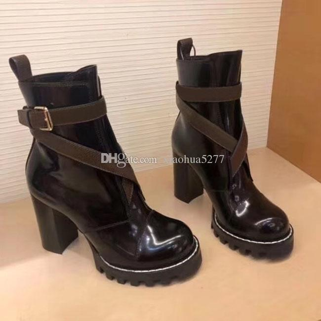 d15224e2809 2019 Designer women Shoes Fashion British Boots Round Toe Martin Boots  Buckle Strap Chunky Heel Round Toes Ankle Boots size35-42 US4-11