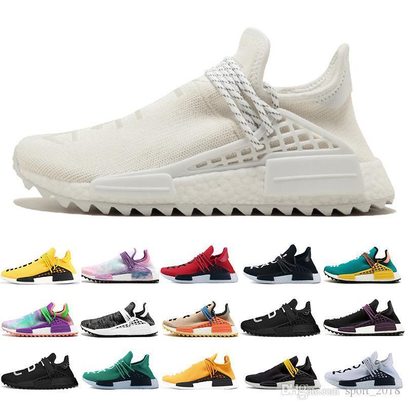 New Human Race Trail Running Shoes Men Women Pharrell Williams Hu Runner Nerd Yellow Black White Blank Canvas Sport Runner Sneaker36-47