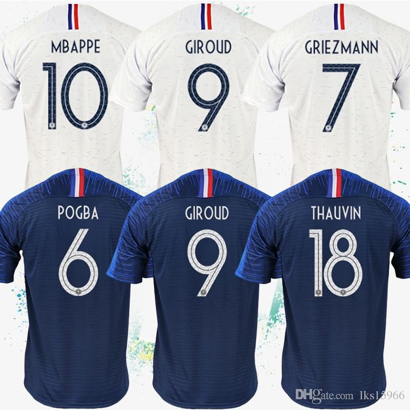 separation shoes 0228c 1c7f4 7 GRIEZMANN Soccer Jerseys 2018 MBAPPE World Cup Jerseys 6 POGBA Soccer  uniform 9 GIROUD 18 THAUVIN Customizable football suit