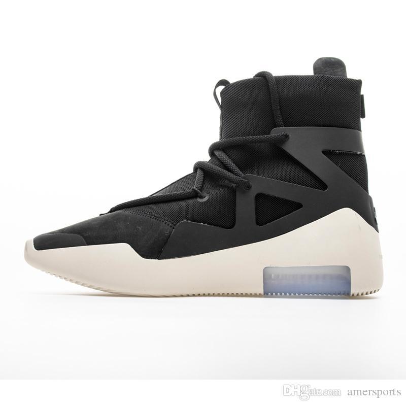52129dbdd Compre Nike Air Fear Of God 1 Lo Nuevo Air Fear Of God 1 Hombre Zapatos FOG  Designer Boots Zapatos De Baloncesto Light Bone Black Sail Basketball Shoes  ...