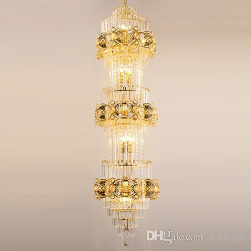 Moderne Salon De Lobby Cristal Luxe Éclairages Led Villa Lustres Simple Style Grands Hôtel Lustre Européen Bâtiment Duplex Lampes QCroxBWEde