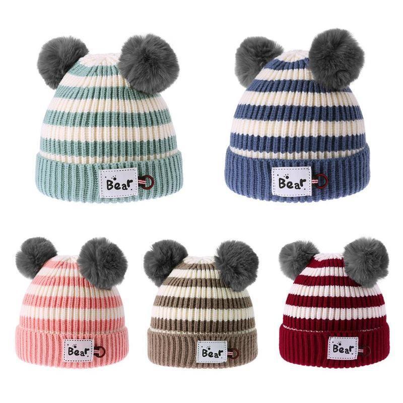 01628e7a1 Cute Boys Girls Knitted Caps Dinosaur Printed Kids Beanie Cap Winter Warm  Children Hat Solid Color Infants Hats Autumn Headwear